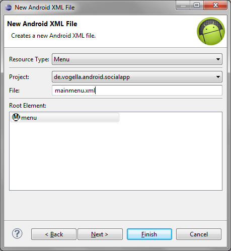 Creating a new XML resource for the menu