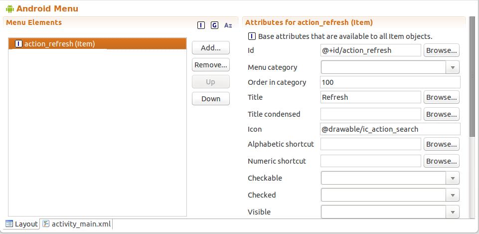 How to maintain the menu entries in an menu xml file