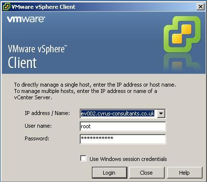 Using the VMware vSphere Client, Login and Connect to the ESXi server